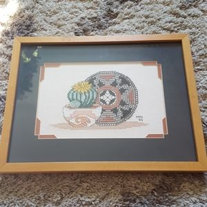 Vintage 90s cactus embroidered picture